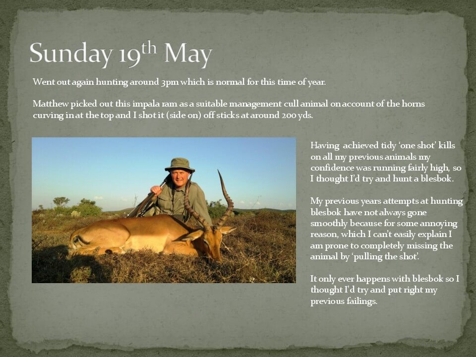Bob's 2013 safari hunting log 11